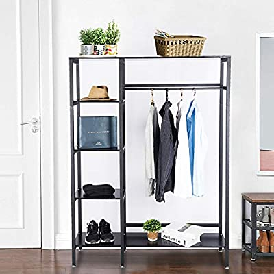 Gelinzon Multipurpose Industrial Coat Rack - Hall Tree Entryway Storage Shelves for Hallway Industrial Vintage Metal Multipurpose for Hallway, Black - 【Ultra-large Capacity】Featuring 4 storage cubes, 1 shelves long bench, the storage shelves are spacious for storing books and displaying your favorate showpieces. Bench included to sit on or keep your bags, and a lower shelf for organizing shoes. 【Convenient Use】A garment rod, it's sure to help clear up home clutter. Set a place to hang your coat, scarf and hat when you walk in the door, and have everything you need to walk out of the door in one place. 【Unique Style】Made of high-grade MDF board and metal frame, the mixed materials is beautifully in balance, create an industrial and casually style. - hall-trees, entryway-furniture-decor, entryway-laundry-room - 51 GQzf91RL. SS400  -