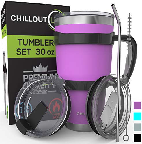 Stainless Steel Travel Mug with Handle 30oz - 6 Piece Set. Tumbler with Handle, Straw, Cleaning Brush & 2 Lids. Double Wall Insulated Large Coffee Mug Bundle - Purple Powder Coated Tumbler (Stainless Tumbler Steel Thermal)