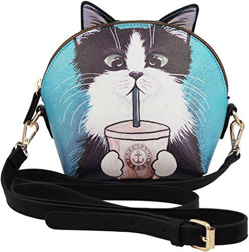 B BRENTANO Vegan Cute Cat Animal 3-D Ear Crossbody Handbag (Mimi)