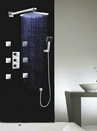Luxury 8 Water Power LED Shower Head Thermostatic 6 Massage Jets