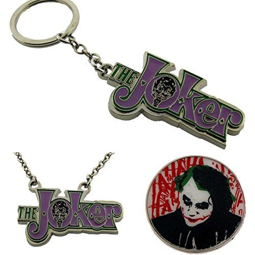 Pendant Dog Tag Combo (Batman Joker the Character Belt Buckle Dog Tag & Key Chain comics Combo Bundle)