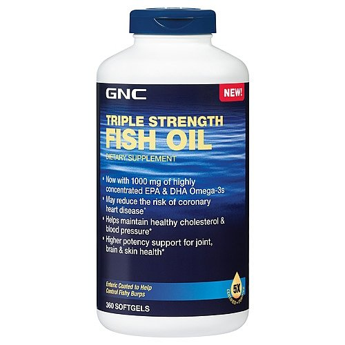 Gnc triple strength fish oil new formula 1500 360 softgels for Best time to take fish oil