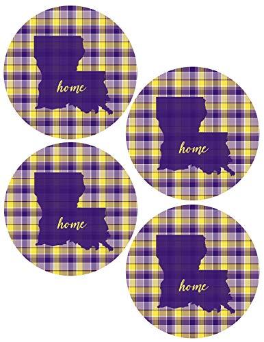 - Louisiana Plaid Silhouette Home Coasters Purple & Gold (Set of 4)