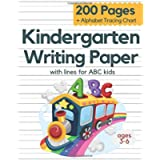 Kindergarten Writing Paper With Lines For ABC Kids Ages 3-6: 200 Blank Handwriting Practice Paper With Dotted Lines…