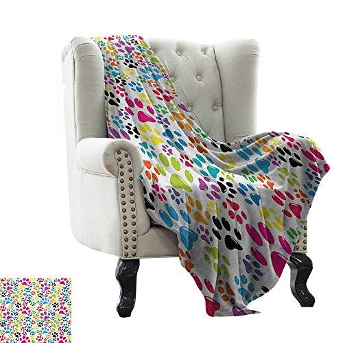 (Bed Blanket Dog,Colorful Little Paws Cute Steps Childish Artwork Cartoon Unusual Traces Design,Purple Blue Green Winter Luxury Plush Microfiber Fabric 60