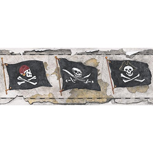 York Wallcoverings Brothers and Sisters V Pirate Flag Border, Beige, Grey, Black, White, Red, Amber