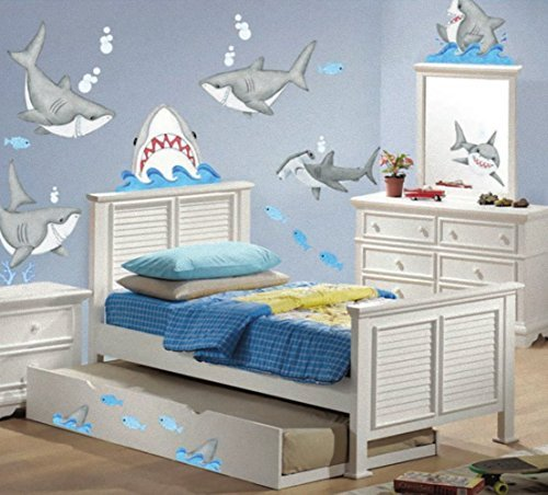 Fish'n Sharks Stickers Wall Decals Children Bedroom Decor Peek-a-Boo Sharks (Children Border Wall)