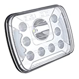 Rectangle 7x6 5x7 Led Halo Headlight for Jeep Wrangler YJ Cherokee XJ Comanche MJ Grand Wagoneer Chevrolet Chevy GMC Dodge H6014 H6052 H5054 H6054LL 69822 6052 Truck 4X4 Offroad Headlamp Replacement