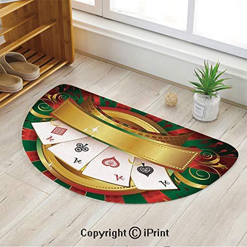 LEFEDZYLJHGO Indoor and Outdoor Door Mat,Semicircle Non-Slip Doormats,Gambling Fortune Wealth Playing Cards Hand Casino Roulette Winning Print Decorative,35