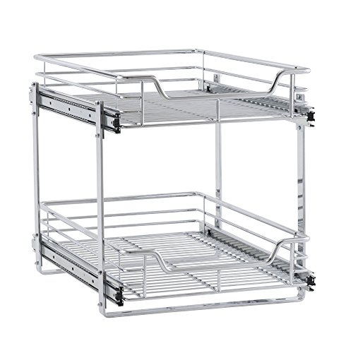 "Household Essentials C21521-1 Glidez Dual 2-Tier Sliding Cabinet Organizer, 14.5"" Wide, Chrome"