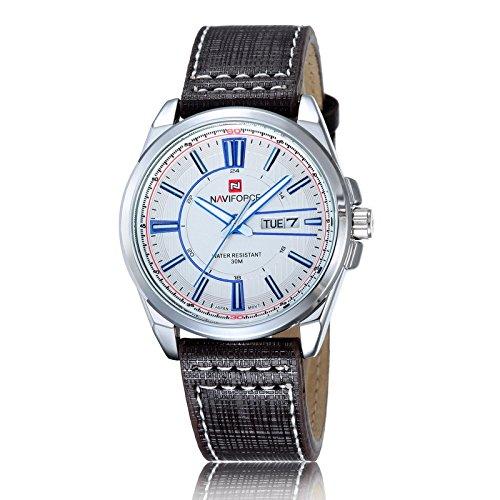 Marcas nuevo reloj de pulsera Mejores nuevos hombres cinturón de piel de Casual Fashion reloj de cuarzo plata shell Blackfaced Bla: Amazon.es: Relojes