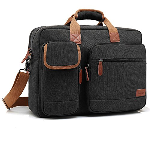 Price comparison product image CoolBELL 17.3 Inch Laptop Messenger Bag Briefcase Protective Shoulder Bag Multi-functional Business Hand Bag For Laptop / Ultrabook / Tablet / Macbook / Dell / HP / Men / Women (Canvas Blak)