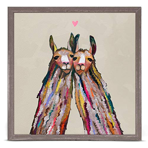 (GreenBox Art + Culture Llama Love by Eli Halpin 6 x 6 Mini Framed Canvas, Rustic Natural)