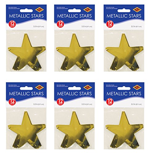 (Beistle S57027-GDAZ6 Metallic Star Cutouts 72 Piece Gold)