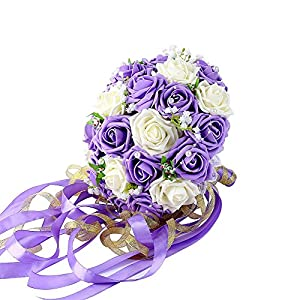 Febou Wedding Bridal Bouquet, Wedding Bride Bouquet, Wedding Holding Bouquet with Artificial Roses Lace Pearl Ribbon, Perfect for Wedding, Church, Party and Home Decor(Long Ribbon, White+Purple) 102