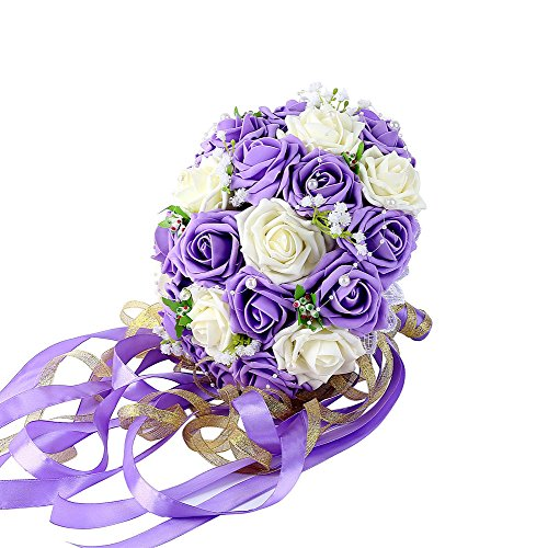 Febou Wedding Bridal Bouquet, Wedding Bride Bouquet, Wedding Holding Bouquet with Artificial Roses Lace Pearl Ribbon, Perfect for Wedding, Church, Party and Home Decor(Long Ribbon, White+Purple)