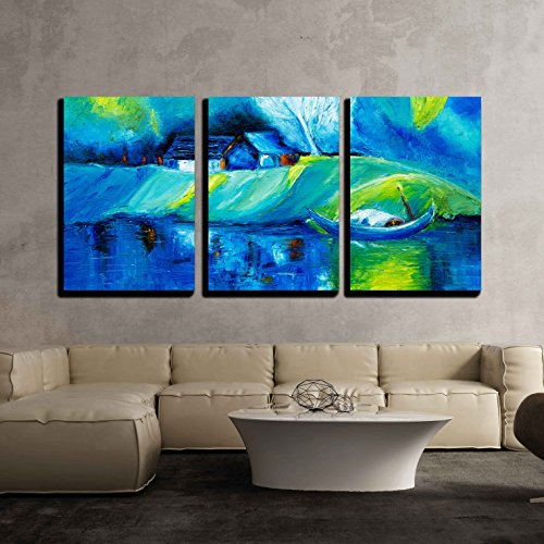 vas Wall Art - Original Oil Painting Showing Lake,Boat and House Landscape on Canvas - Modern Home Decor Stretched and Framed Ready to Hang - 16