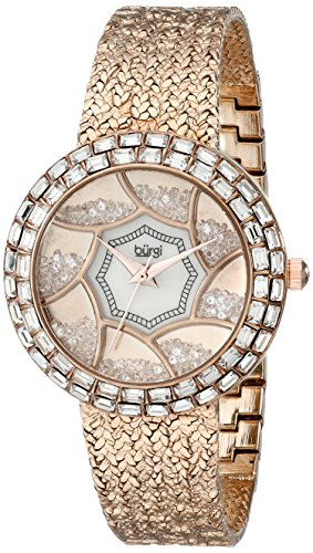 Burgi Women's BUR118RG Crystal Baguette Bezel Mother-of-Pearl & Floating Crystal Dial Rose Gold Bracelet Watch