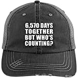6570 low profile - 18th Anniversary 6,570 Days Together But Who's Counting - Distressed Trucker Cap Black/Grey / One Size, Golf Baseball Hat