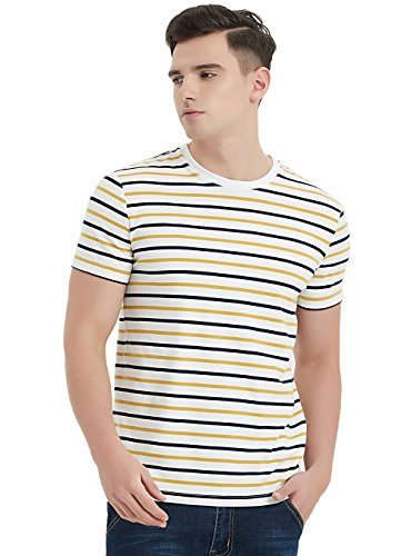 Zengjo Essential Stripes T-Shirts Comfort Short-Sleeve Crew-Neck Striped Tee Top (XXL, Navy & Yellow Stripes)