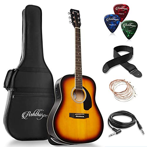 Ashthorpe Full-Size Dreadnought Acoustic-Electric Guitar Bundle – Premium Tonewoods – Sunburst