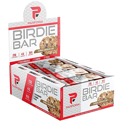 Parform Birdie Bar | High Protein Bar | All-In-One Performance Nutrition Bar | 230 Calories, 4g of Sugar & 18g of Protein | (12 Bars, Oatmeal Chocolate Chip) ()