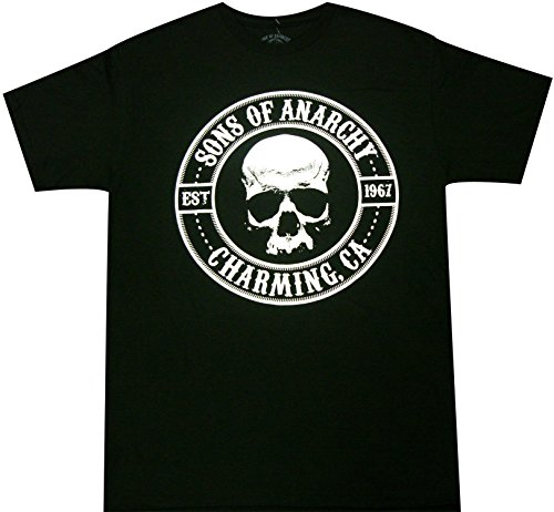 Sons of Anarchy Motorcycle Club Logo Skull Charming CA Adult T-Shirt (XXX-Large, Black)