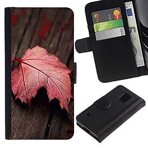 All Phone Most Case / Oferta Especial Cáscara Funda de cuero Monedero Cubierta de proteccion Caso / Wallet Case for Samsung Galaxy S5 V SM-G900 // Red Leaf