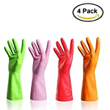 URSMART Reusable Kitchen Waterproof Household Dishwashing Rubber Latex Cleaning Gloves (4 pairs M)