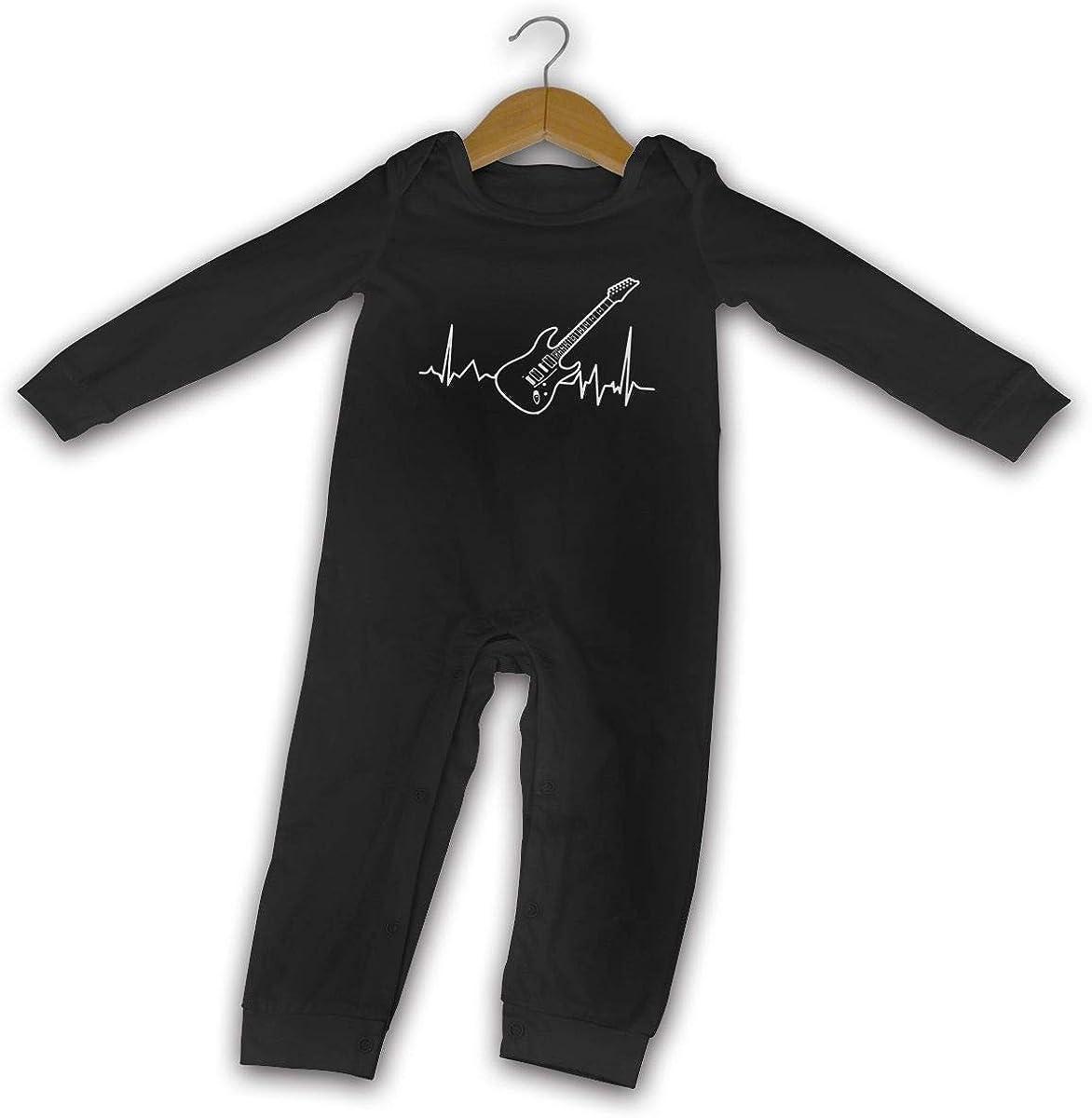Guitar Heartbeat Love Playing Guitar Printed Newborn Baby One-Piece Suit Long Sleeve Pajamas Black
