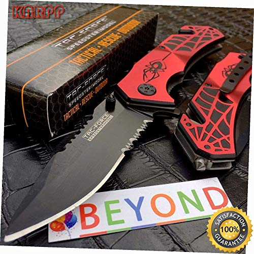 Spring Assisted Red Spider WEB Outdoor Tactical Rescue Pocket Knife - Outdoor Camping perfect For Hunting EDC EMT
