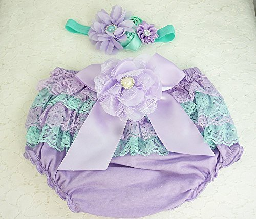 Baby Lace Diaper Cover, Bloomers & Headband Set, Girl's 1st Birthday Pantie Set, Lavender & Aqua Petti Lace Cake Smash Outfit, Kids Fashions, Sizes 6-18 mos, Made in the USA.