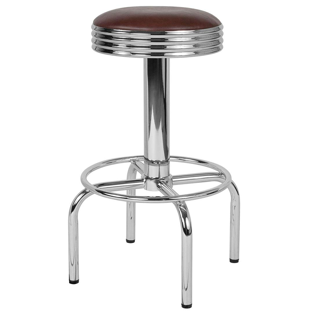 Modern Classic Design Metal Dining Round Backless Barstools Extra Wide Quadruple Base Lounge Diner Restaurant Commercial Seats Home Office Furniture - (1) Brown Vinyl Seat #2203
