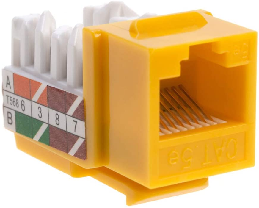 30 Cat5e Ethernet RJ-45 Keystone Jack Cat5 Punch-Down Network Yellow Choose a Pack of 5//10//20//30