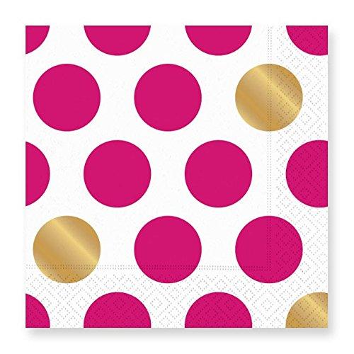 Design Design Kenzie Fuchsia White Gold Dots Paper Luncheon (Dots Luncheon Napkins)