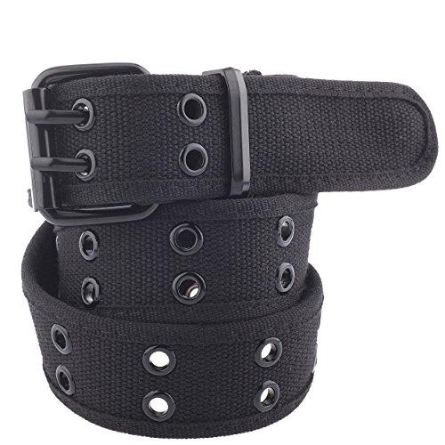 Unisex Two-Hole Canvas Belt - Available in 13 Colors (WB-211, Large, Black) (Mens Grommet Belt)