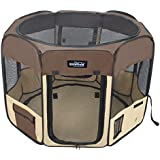 "EliteField 2-Door Soft Pet Playpen, 3 Size 4 Color Available (Brown+Beige, 48"" x 48"" x 32""H)"