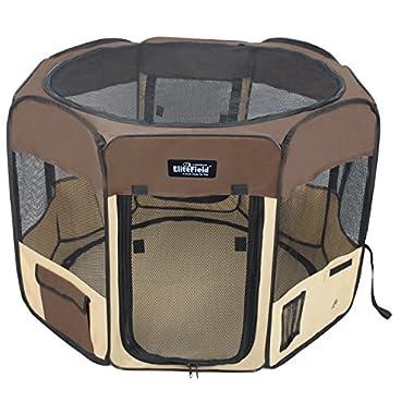 EliteField 2-Door Soft Pet Playpen, 3 Size 4 Color Available (Brown+Beige, 48  x 48  x 32 H)