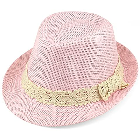 Trilby Fedora Hats for Kids - Summer, Beach & Party Hat for Boys & Girls - Short Brim Childrens Sun Hat - Cream Lace Trim Band - Light Pink