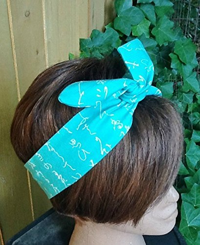 Wired Headband Dolly BowTurquoise Half Moon Script Bandanna Print Print Wired Dolly bow Rockabilly Wire Scarf Headband Bohemian Rabbit Ears (Half Head Moon)