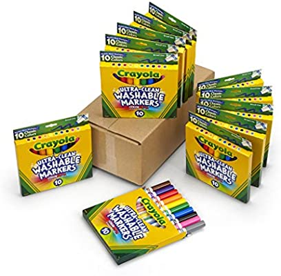 Crayola Ultra Clean Broad Line Markers, School Supplies, 12 Pack, 10 Assorted Colors