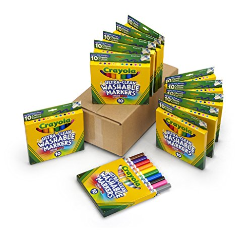 Crayola Ultra Clean Washable Markers Bulk, 12 Packs, 10 Assorted Colors
