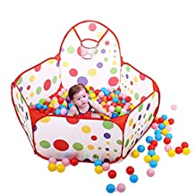Kids Ball Pit Playpen Toddler Play Tent Sea Ball Pool with Mini Basketball Hoop 0.9/1.2/1.5 m