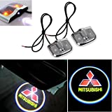 mitsubishi lancer symbol - CHAMPLED For MITSUBISHI Laser Projector Logo Illuminated Emblem Under Door Step courtesy Light Sticker No Drill Lighting symbol sign badge LED Glow Car Auto Tuning Accessory Self Adhesive