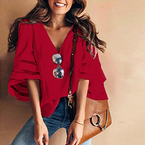 col Haut Manches Sweat T Femme Shirt Rouge Longues V Sunnywill Manches Femme Fnwt6xqq