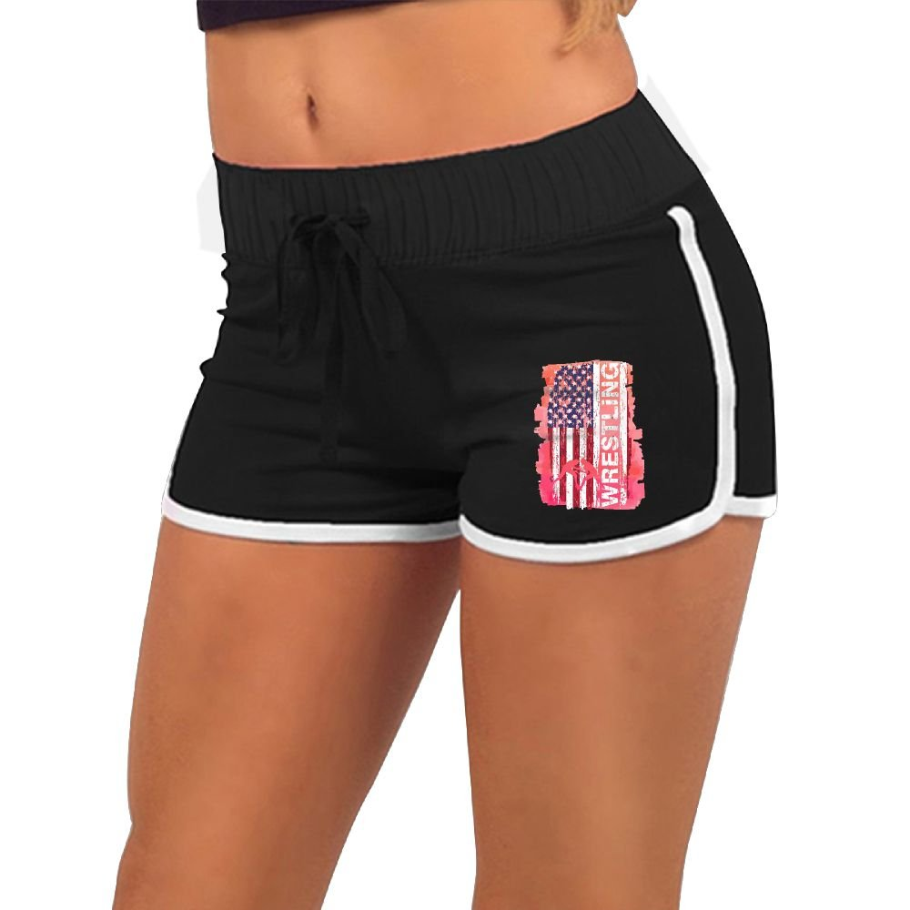 Baujqnhot Wrestling American Flag Women Running Yoga Gym Workout Athletic Sport Waistband Shorts Pants