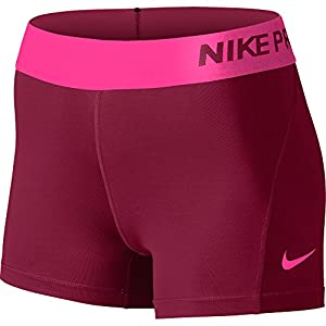 Nike Women's Pro Cool 3-Inch Training Shorts (Noble Red/Hyper Pink/Hyper Pink/Large)