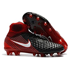 Men's High Ankle Soccer Cleats Nike Magista Obra II FG Black/Red (8.5 US)