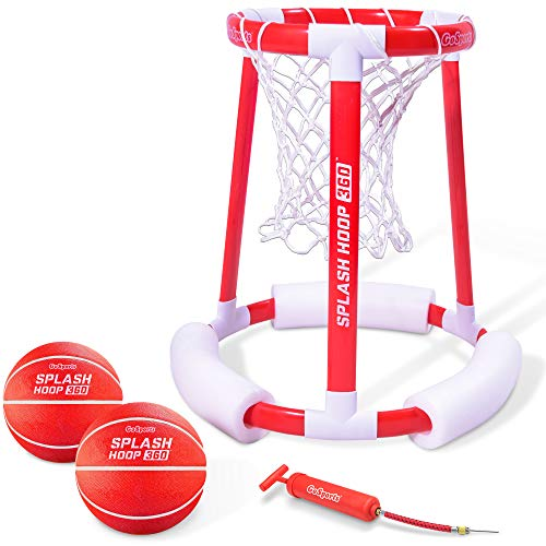 GoSports Splash Hoop 360 Floating Pool Basketball Game | Includes Water Basketball Hoop, 2 Balls and Pump (Best Of The Best Basketball)