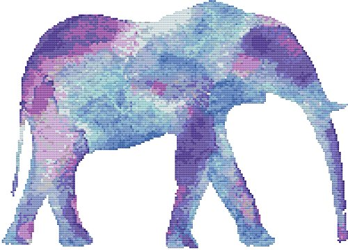 Watercolor Elephant Cross Stitch Pattern